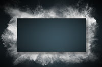 Abstract design of dust explosion frame background. Powder particles sprayed over dark backdrop