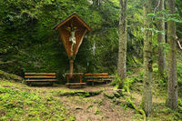 wayside cross, in the forest near Mayrhofen in the Zillertaler alps, austria, europe