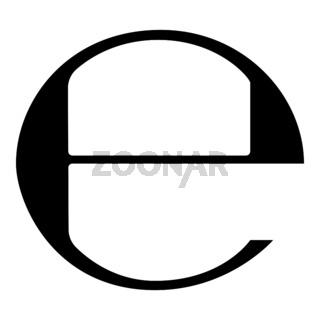 Estimated sign E mark symbol e icon black color illustration flat style simple image