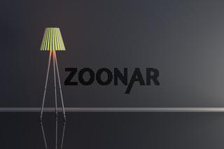 3d illustration of a lamp in a dark room.