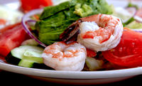 prawn with a fresh vegetables