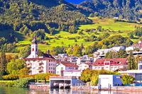 Idyllic Luzern lake village of Hergiswil waterfront view
