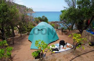 Zelten auf dem Campingplatz Fautea - Korsika