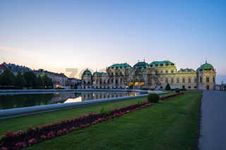 Belvedere Palace at twilight in Vienna city, Austria.