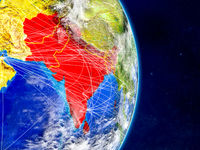 SAARC memeber states on Earth with networks