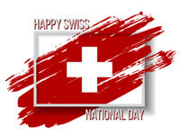 Swiss national day card with Flag in grungy style.