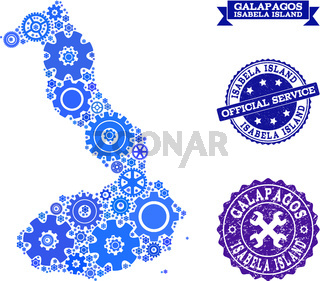 Collage Map of Galapagos - Isabela Island with Gears and Grunge Stamps for Service