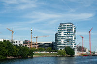 Berlin, Germany, Luxury residential block 'Living Levels' at the Spree River in Friedrichshain