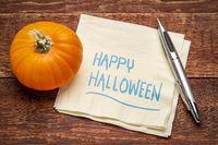 Happy Halloween on napkin