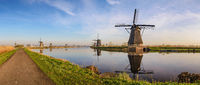 Rotterdam Netherlands, Panorama of Dutch Windmill at Kinderdijk Village
