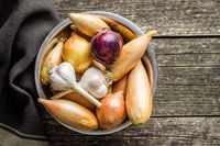 The golden shallot onion and garlic. Fresh bulbs