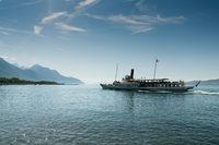Villeneuve, VD / Switzerland - 31 May 2019: historic steamship