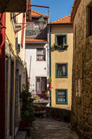 Narrow streets and homes in the Ribeira district of Porto