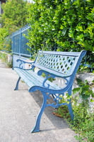 Classic blue bench outdoor