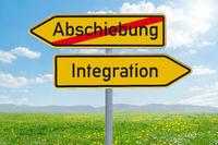 Two direction signs - Deportation or Integration- Abschiebung oder Integration (german)