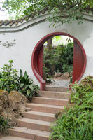 Chinese traditional circular door on a white wall