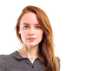 Portrait of a confident young female isolated white background