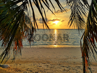 Colorful ocean beach sunset .Tropical Maldives beach.