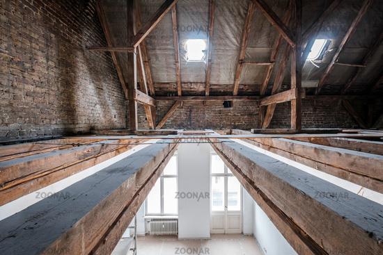 floor beams in attic / loft during renovation,  roof under construction