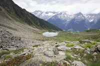Der Klaussee unterhalb des Rauchkofel im Ahrntal in Südtirol, Italien