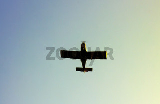 Kind of sports aircraft single screw with massive wings in air