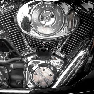 Motorbike's chromed engine