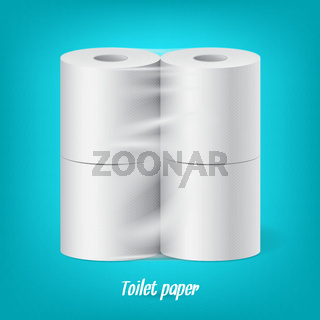 Realistic packaged toilet paper rolls isolated vector