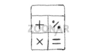 calculator icon with drawing style on chalkboard, animated footage ideal for compositing and motiongrafics