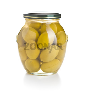 Pickled green olives.