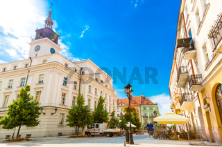 Old town square and town hall building in city of Kalisz, Poland