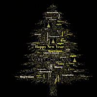 Merry Christmas word cloud in tree shape