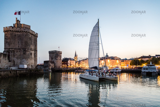 The old port of La Rochelle in France