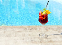 Refreshing classic fruit sangria by the pool