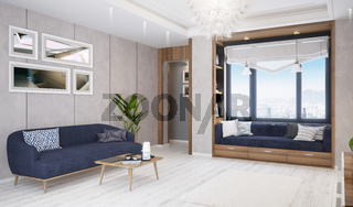 Modern bright living room, interior with sofa, table and lamp