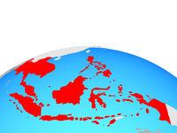 Map of ASEAN memeber states on globe