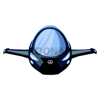Front view of spaceship vector illustration on white background