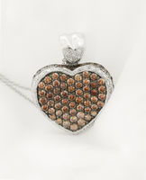 White Gold Heart Pendant With Chocolate Diamonds
