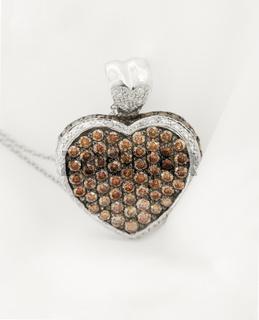 White Gold Heart Pendant With Chocolate Diamonds