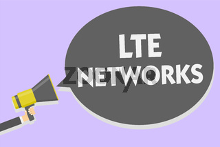 Conceptual hand writing showing Lte Networks. Business photo showcasing Fastest network connection available for wireless communication Man holding megaphone speech bubble message speaking loud.