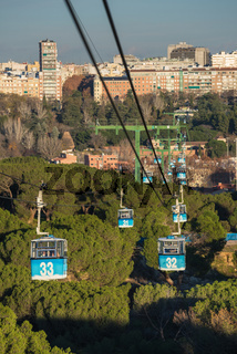 Cable car over casa de campo park in Madrid, Spain.