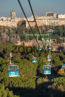 Cable car over casa de campo park in Madrid, Spain.