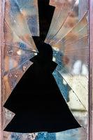 Shattered door glass window