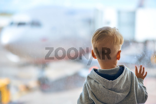 Two year old boy at the airport