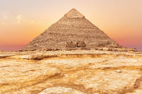 Beautiful Pyramid of Chephren at sunset, Giza