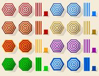 Umbrella beach set icon. Geometric, simple and flat.