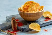 Potato chips with paprika.