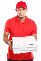 Pizza delivery latin man boy order delivering job deliver box young isolated on white