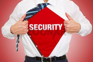 Business Mann trägt Schriftzug Security