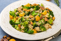 Warm quinoa, broccoli and walnut salad.