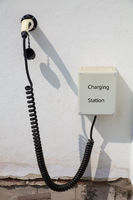 Charging station for electric car on wall